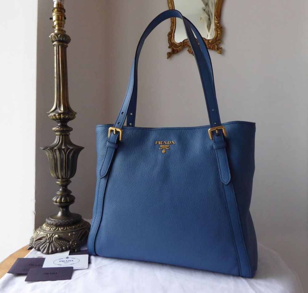 Prada Shopping Tote in Cobalt Blue Vitello Phenix Leather - New