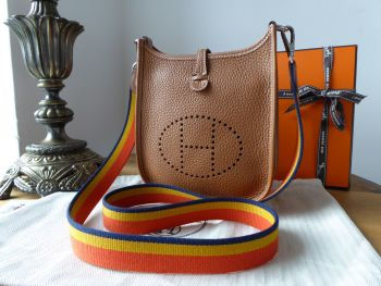 Hermés Evelyne TPM Mini 16 in Gold Taurillon Clemence Amazone with Tricolore Rocabar Strap & Samorga Liner - As New