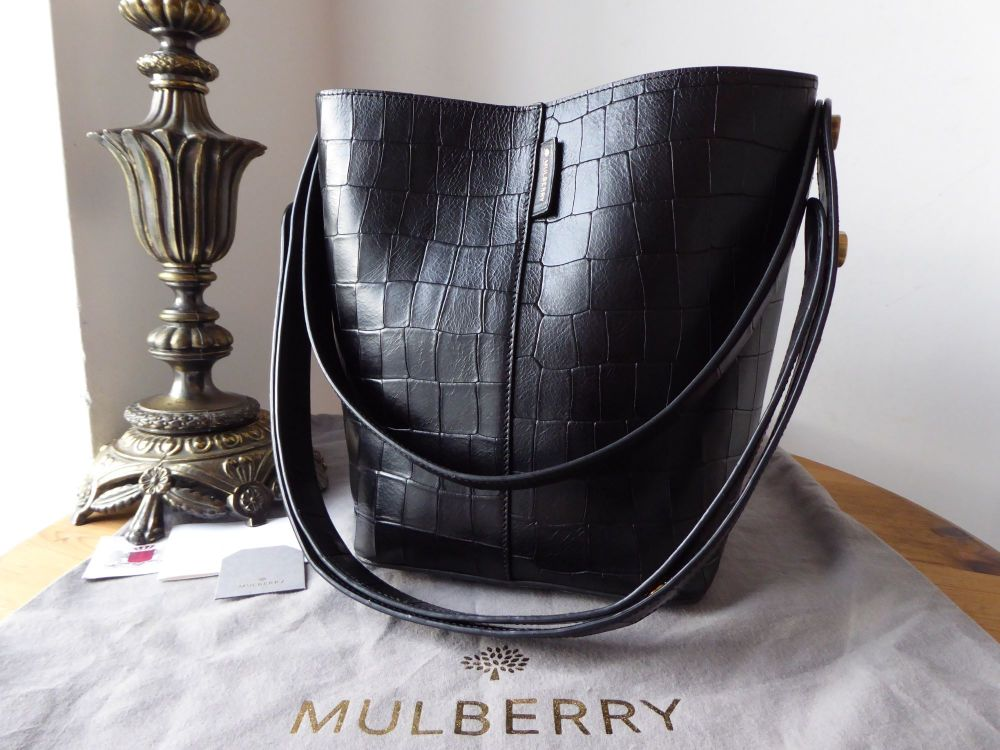 Mulberry Small Kite Tote in Black Deep Embossed Croc Printed Leather