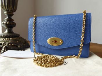 Mulberry Small Darley Shoulder Clutch in Porcelain Blue Small Classic Grain Leather
