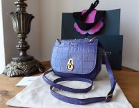 Mulberry Mini Amberley in Dark Amethyst Croc Printed Calf Leather - As New*