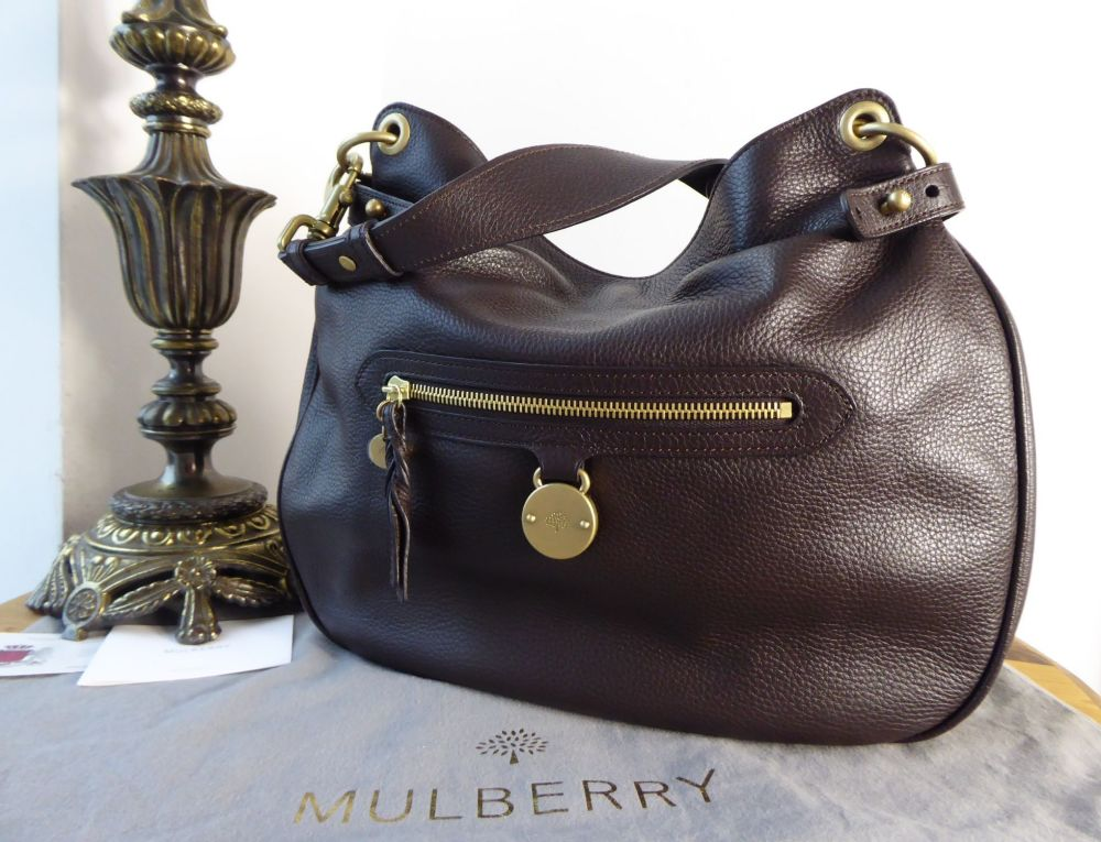 Mulberry Somerset Shoulder Hobo in Chocolate Pebbled Leather - New
