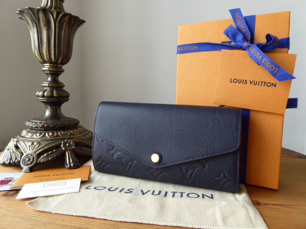 Louis Vuitton Sarah Continental Wallet Purse in Marine Rouge Empreinte