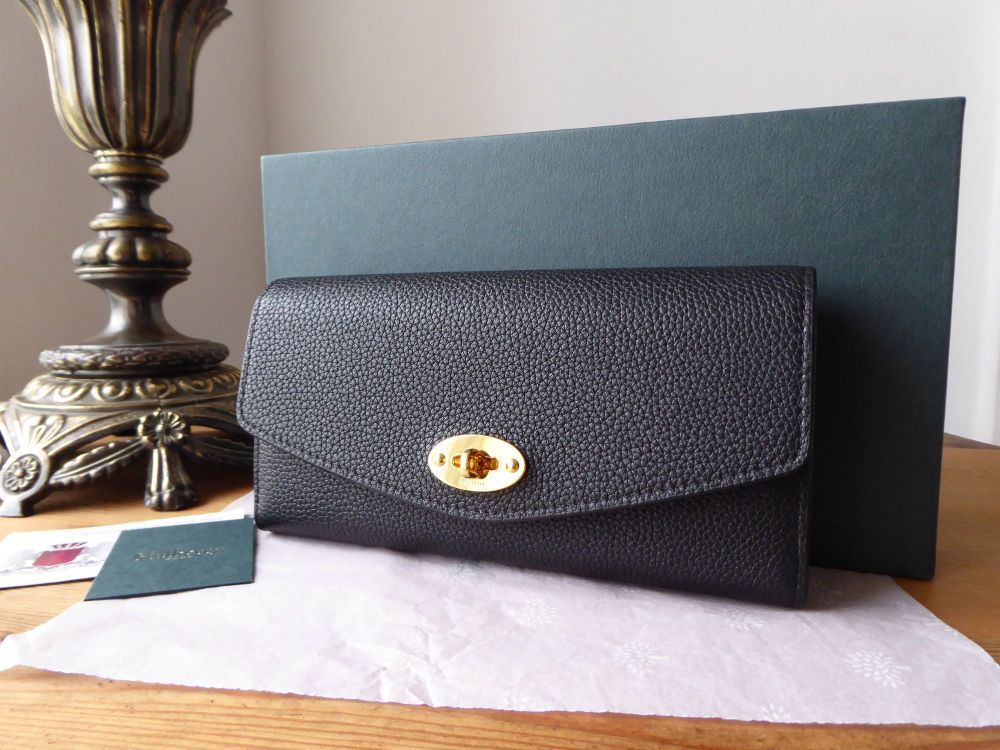 Mulberry Darley Continental Purse Wallet in Black Small Classic Grain