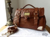 Mulberry Alexa Travel Day Bag in Oak Shiny Lambskin Leather