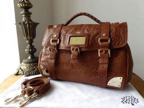 Mulberry Alexa Travel Day Bag in Oak Shiny Lambskin Leather