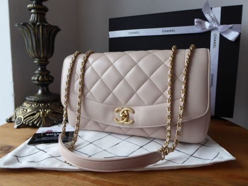 Chanel Diana Large Flap Bag in Pink Blush Lambskin with Antiqued Gold Hardw