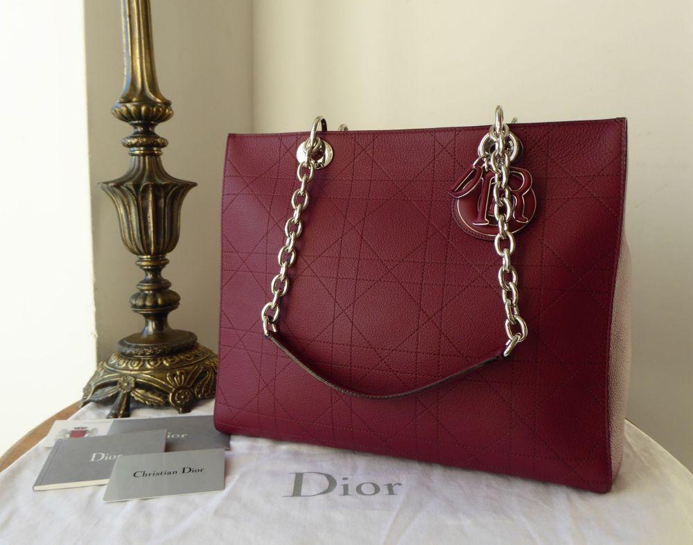 Dior UltraDior Medium Shopper Tote in Bordeaux Grainy Calfskin - New