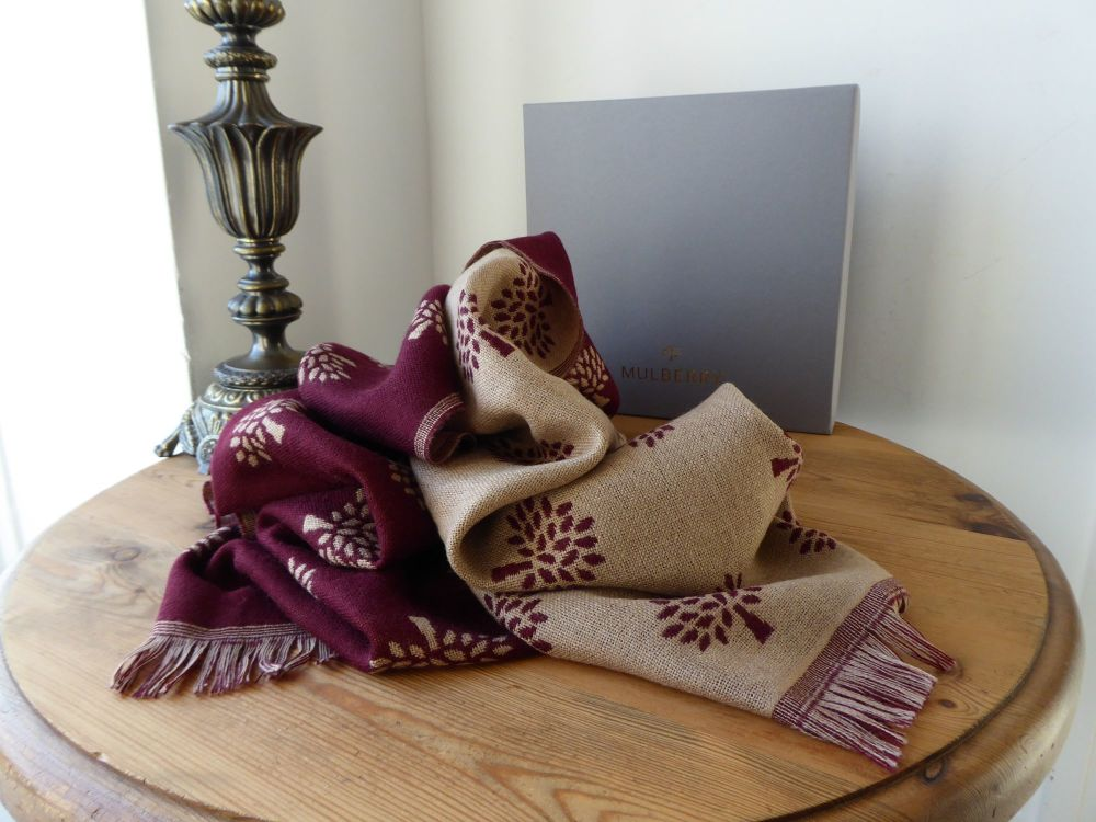 Mulberry Tree Rectangular Scarf Wrap in Reversible Oxblood & Oatmeal 100% V