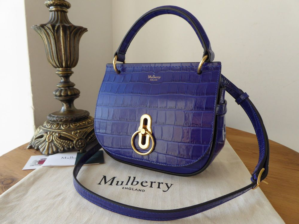 0327657b85 Mulberry Amberley Small Satchel in Cobalt Blue Shiny Croc - SOLD