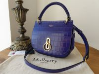 Mulberry Amberley Small Satchel in Cobalt Blue Shiny Croc  - New*