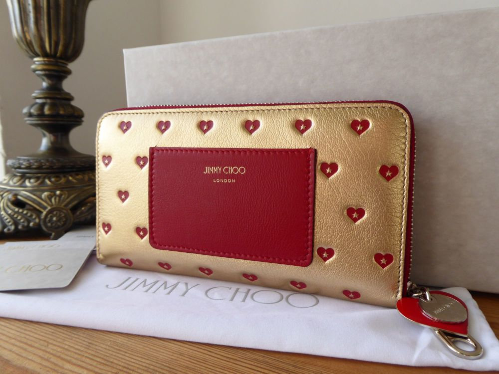 Jimmy Choo 'Milly' Sweetheart Continental Zip Around Purse in Metallic Gold