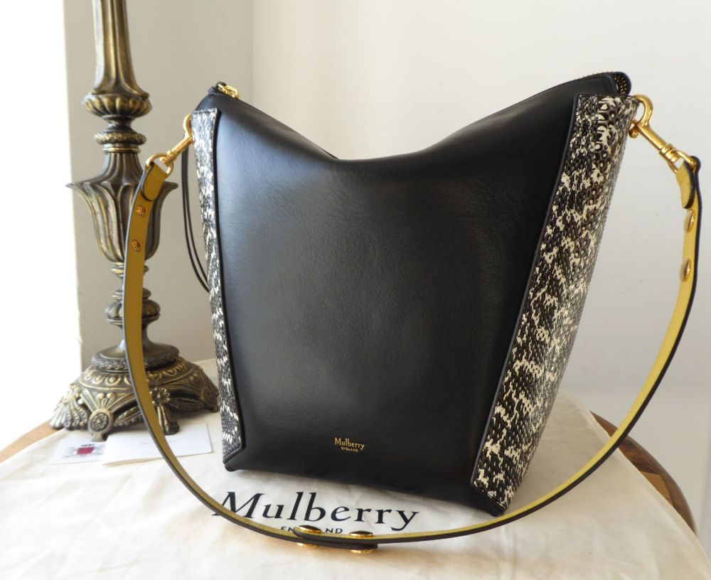Mulberry Large Camden in Oxblood & Black Silky Classic Calf with Snakeskin