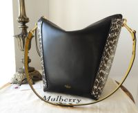 Mulberry Large Camden in Oxblood & Black Silky Classic Calf with Snakeskin Panels
