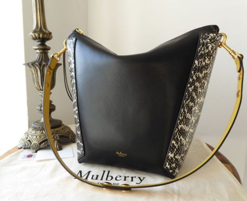 Mulberry Large Camden in Oxblood   Black Silky Classic Calf with Snakeskin 3adf02028ee6e