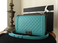 Chanel Boy New Medium in Aqua Blue Quilted Lambskin with Ruthenium Hardware