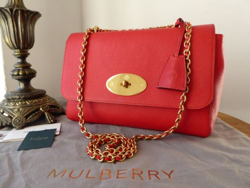 Mulberry Medium Lily in Fiery Red Small Classic Grain Leather - As New*