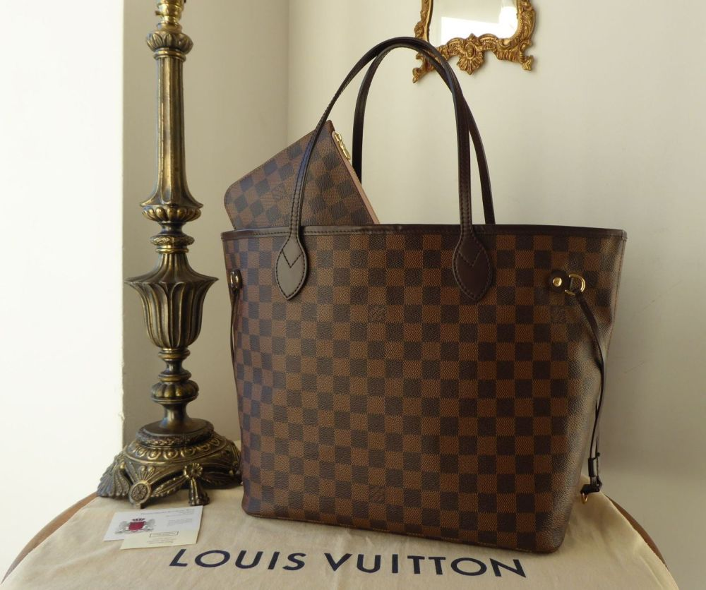 a9d3252a9b3c Louis Vuitton Neverfull MM in Damier Ebene with Rose Ballerine Lining