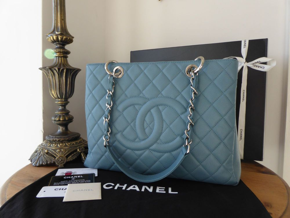 Chanel Grand Shopping Tote GST in Blue Jean Caviar with Silver Hardware