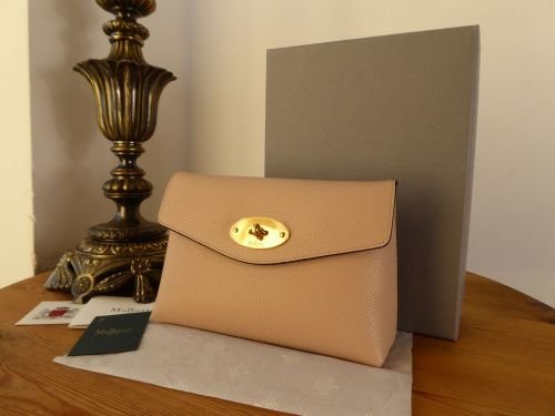 Mulberry Darley Cosmetic Pouch Rosewater Small Classic Grain Leather - New