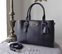 Mulberry Large Bayswater Double Zip Tote in Midnight Blue Shiny Goat with Silver Hardware