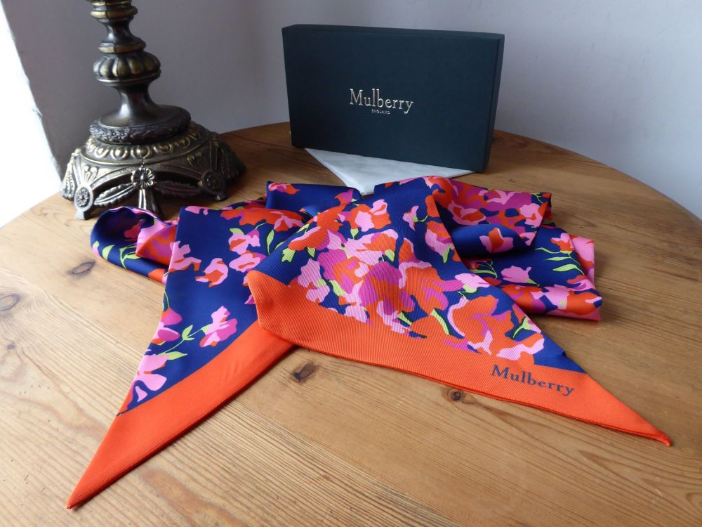 Mulberry Large Silk Twilly Bag Scarf in Floral Bouquet - New