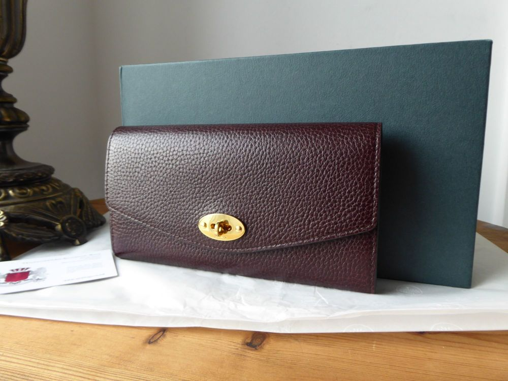 Mulberry Darley Continental Flap Wallet in Oxblood Grained Vegetable Tanned