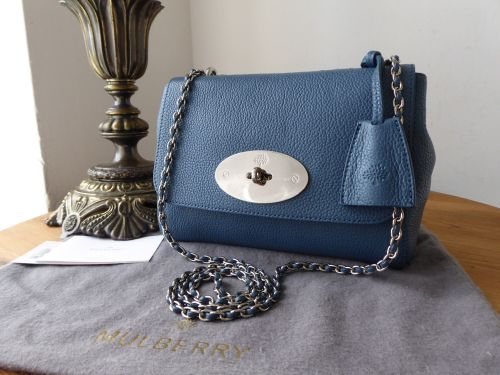 9fad59b395da Mulberry Regular Lily in Steel Blue Small Classic Grain Leather - New