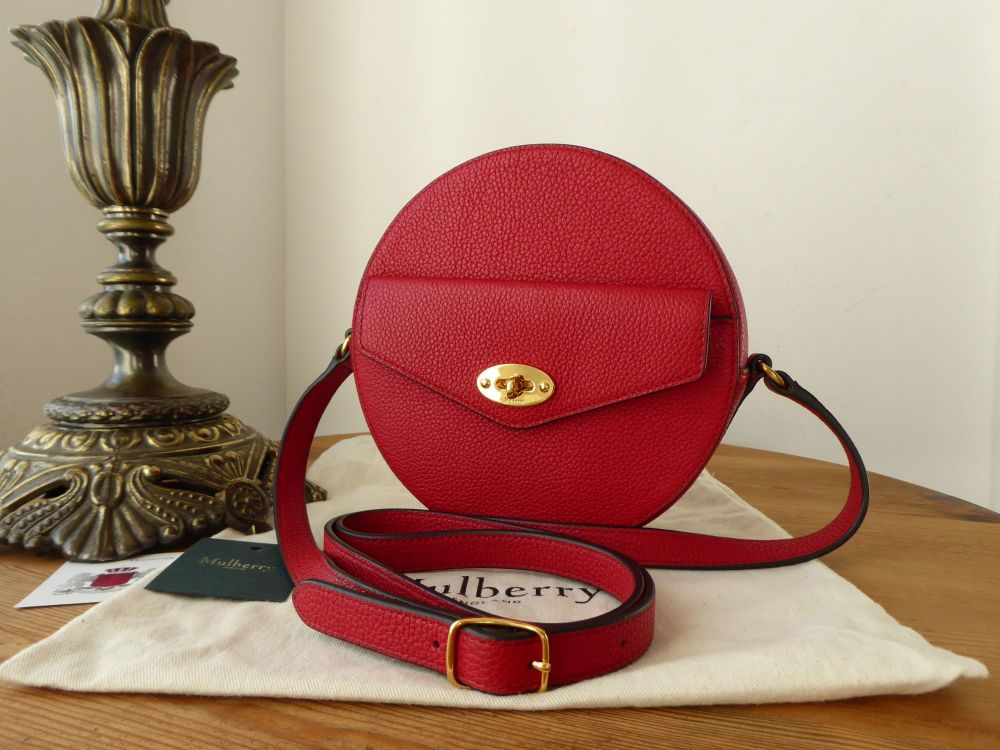 MulberryRound Darley Shoulder Clutch in Scarlet Red Small Classic Grain Le
