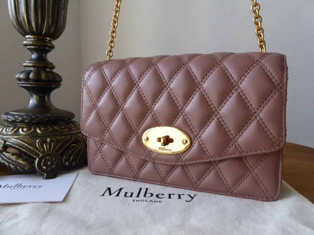 Mulberry Quilted Darley Shoulder Clutch in Dark Blush Smooth Calf Leather -