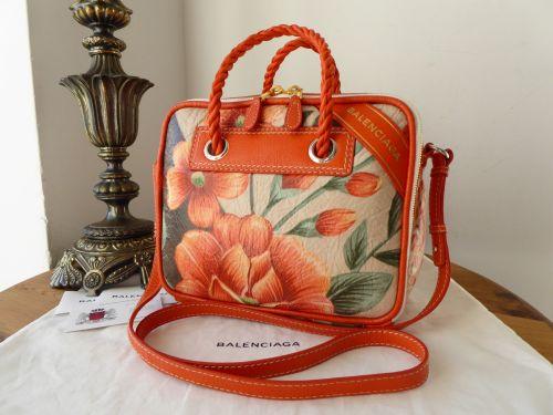 Balenciaga Floral Blanket Box Bag in Printed Antiqued Lambskin - New