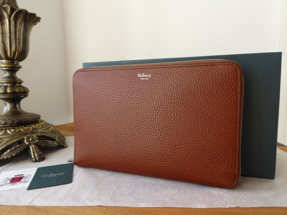 Mulberry Large Zip Around Travel Wallet in Oak Grained Vegetable Tanned Lea