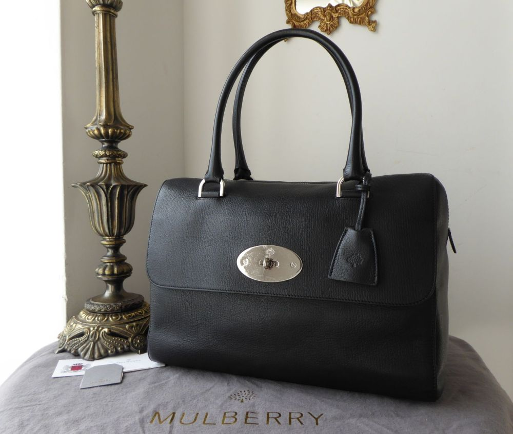 Mulberry Del Rey (Larger Sized) in Black Glossy Goat with Nickel Hardware