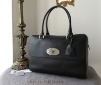 Mulberry Del Rey (Larger Sized) in Black Glossy Goat with Silver Nickel Hardware