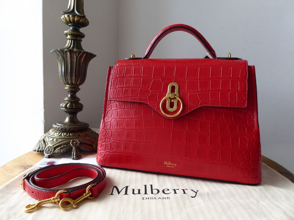 Mulberry Small Seaton in Ruby Red Croc Embossed Nappa - New*