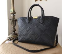 Burberry Dewsbury Zipped Tote in Black Heritage Check Embossed Shrunken Calfskin