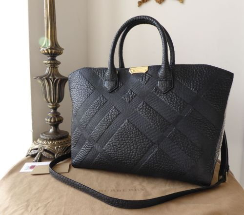 Burberry Dewsbury Zipped Tote in Black Heritage Check Embossed Shrunken Cal
