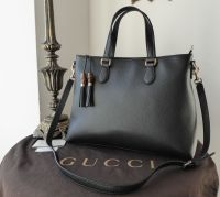 Gucci Tassel Bamboo Large Zip Tote in Black Grained Calfskin - New