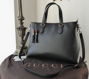 Gucci Tassel Bamboo Large Zip Tote in Black Grained Calfskin - SOLD