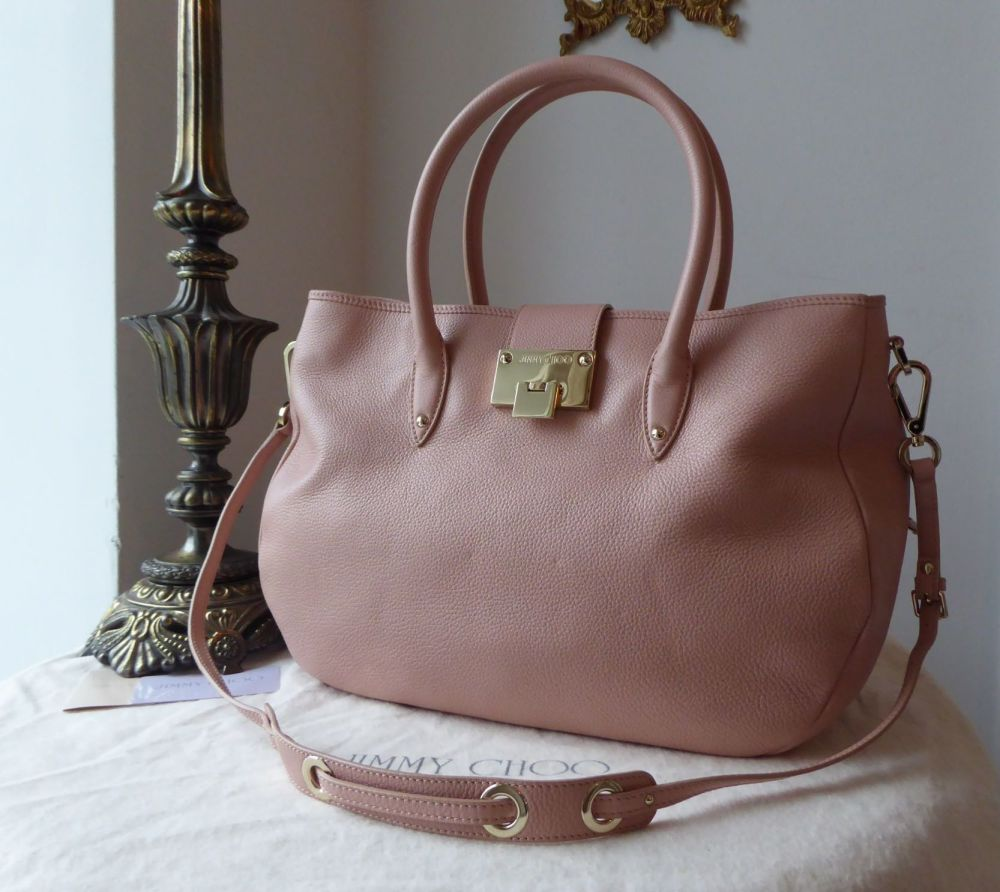 Jimmy Choo Large Rania Tote in Baby Pink Pebbled Calfskin