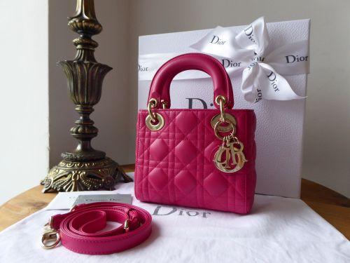 Dior Lady Dior Mini in Fuchsia Cannage Lambskin with Gold Hardware