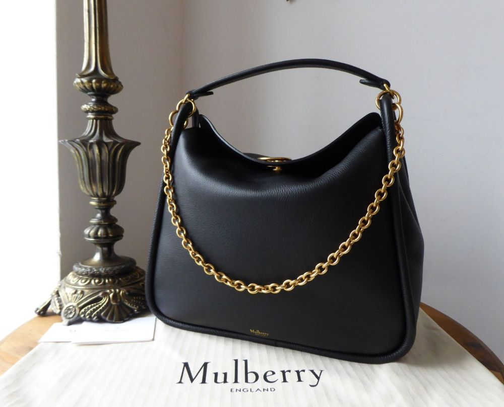 free shipping best supplier picked up Mulberry Large Leighton in Black Small Classic Grain - SOLD