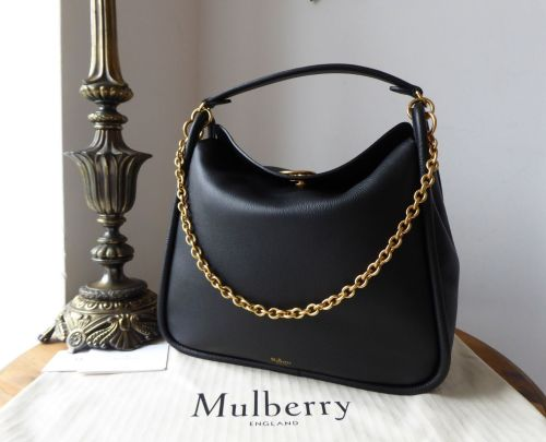 7a1ebff52fe3 Mulberry Leighton in Black Small Classic Grain - As New