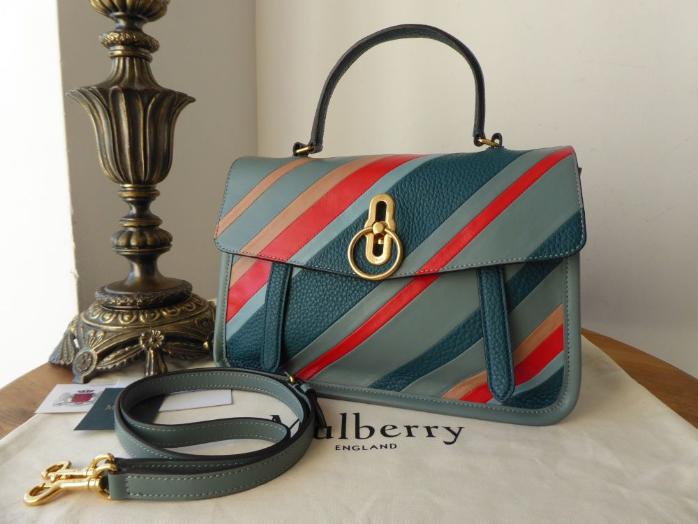 Mulberry Diagonal Stripes Gracy Satchel in Antique Blue Soft Calf - As New*