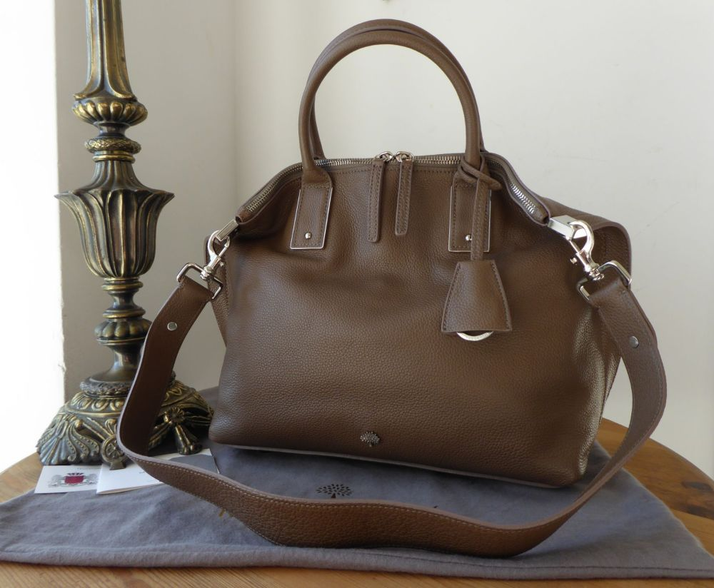 Mulberry Small Alice Zipped Tote in Taupe Small Classic Grain Leather - New
