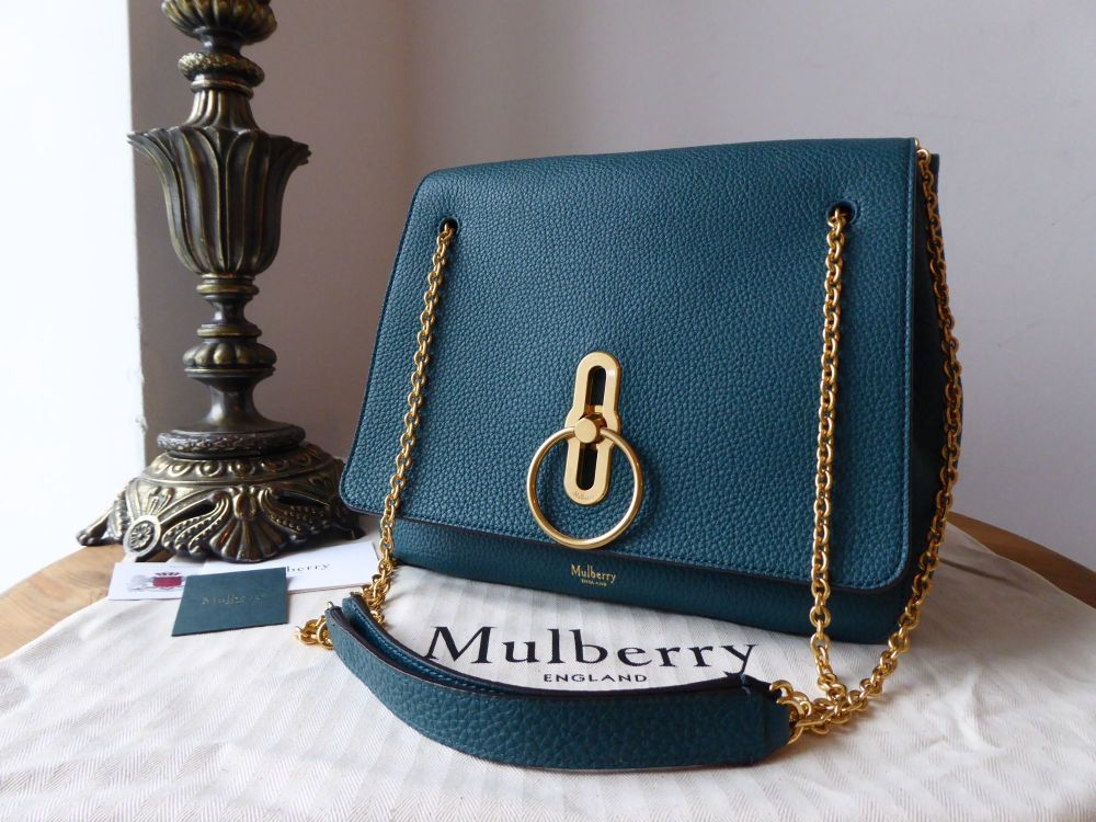 Mulberry Marloes Satchel in Imperial Blue Classic Grainy Calf - New