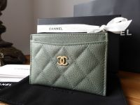 Chanel Credit Card Slip Case in Iridescent Khaki Caviar Leather - New