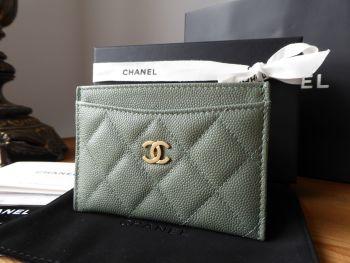 Chanel Credit Card Slip Case in Iridescent Khaki Caviar Leather - SOLD