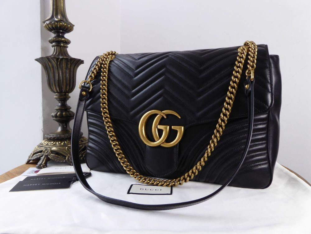 Gucci Large GG Marmont Flap Bag in Black Matelassé Calfskin