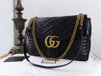 Gucci Large GG Marmont Flap Bag in Black Matelassé Calfskin - SOLD